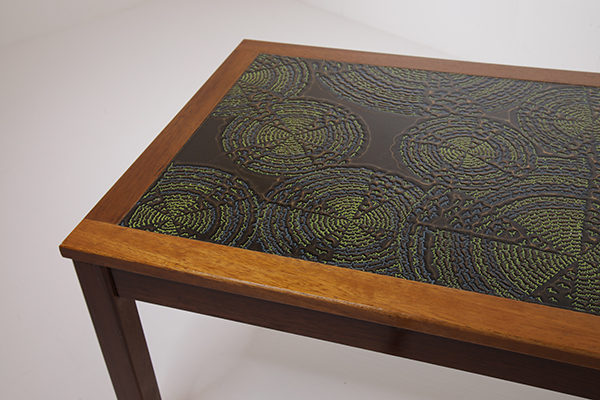 Coloured Enamel top Teak Coffee Table